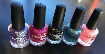 Creative Play nail polish glitters lined up