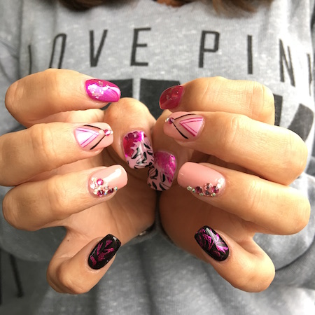 Every nail different SHELLAC nail art pink crystals and stamping