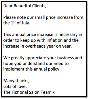 Example price increase letter to nail salon clients