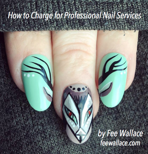 hand painted VINYLUX nail art image by Fee Wallace, How to charge for Professional Nail Services
