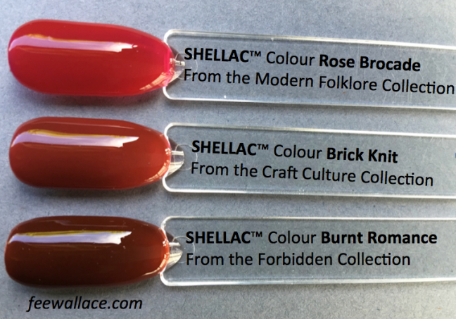 brick knit shellac from cnd craft culture collection compared to other shellac colours by fee wallace