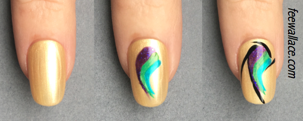 hand painted nail design with creative play by Fee Wallace