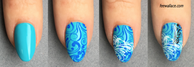 CND SHELLAC with Creative Play Stamping by Fee Wallace Nail Art