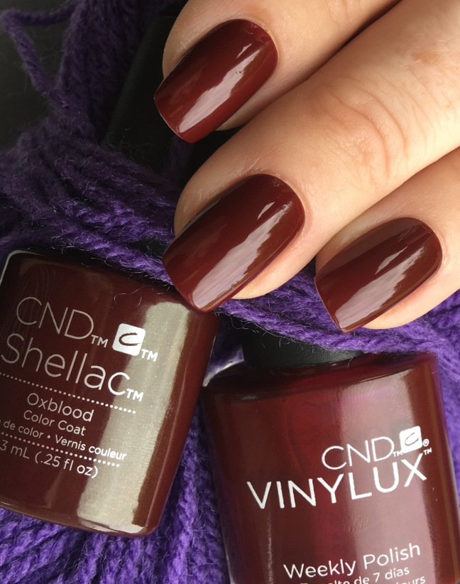 Oxblood CND Craft Culture Colour against purple yarn by Fee Wallace