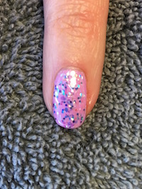 Shellac Beckoning Begonia with Creative Play Glitter Polish on top.