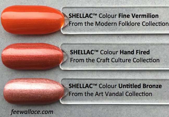 shellac colour comparison for hand fired craft culture collection by fee wallace