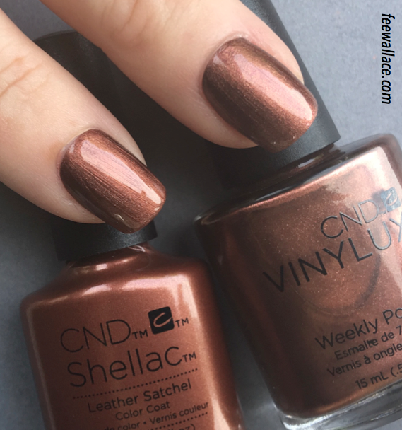 shellac and vinylux colour leather satchel from the cnd craft culture collection by fee wallace