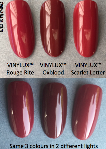 colour comparison shot for oxblood vinylux by fee wallace