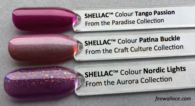 Patina Buckle Shellac Colour Comparison by Fee Wallace