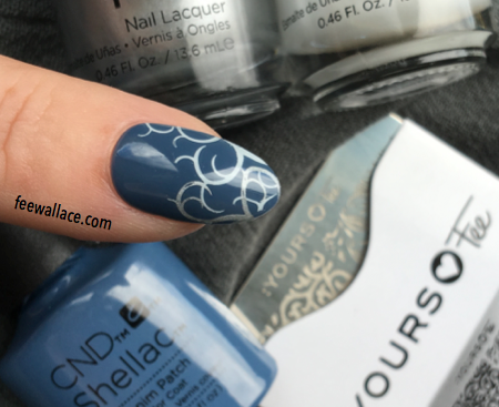 yours loves fee stamping plate twisted garden. cnd creative play over shellac denim patch by fee wallace