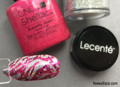 stamping with shellac over butterfly queen with lecente fireworks glitter