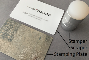 yours loves fee stamping plate, scraper and stamper