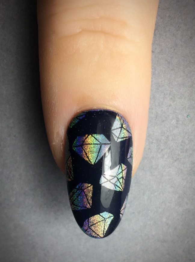 diamond negitive space stamping with Lecente Rainbow Chrome