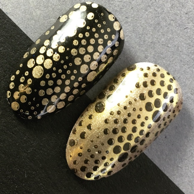 stamping nail art by fee wallace with shellac and lecente gold chrome