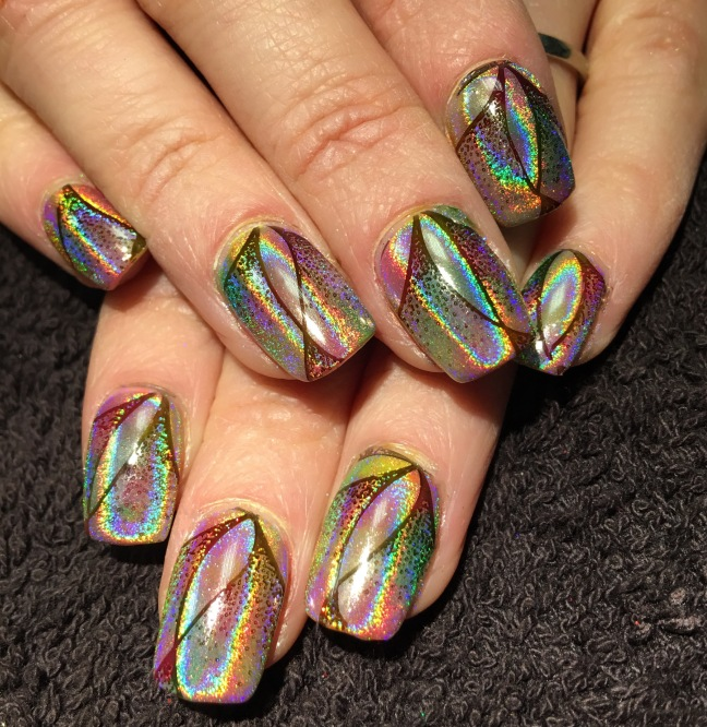 fee wallace stamping over lecente neons with lecente rainbow chrome pigment