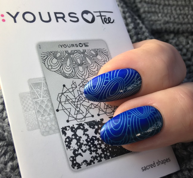yours loves fee stamping plate sacred shapes with shellac blue eyeshadow from the CND new wave collection