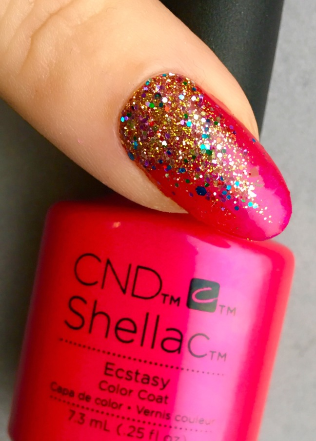 CND shellac ecstasy with lecente treacle multi-gluts glitter