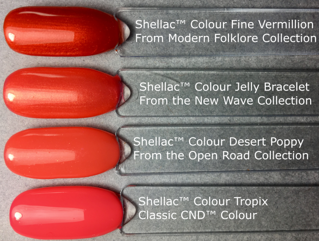 shellac color jelly bracelet from the CND new wave collection compared to other shellac colours, pictured by fee wallace