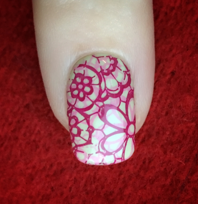 Shellac sugarcane with yours loves fee nail art stamping using CND Creative Play by Fee Wallace