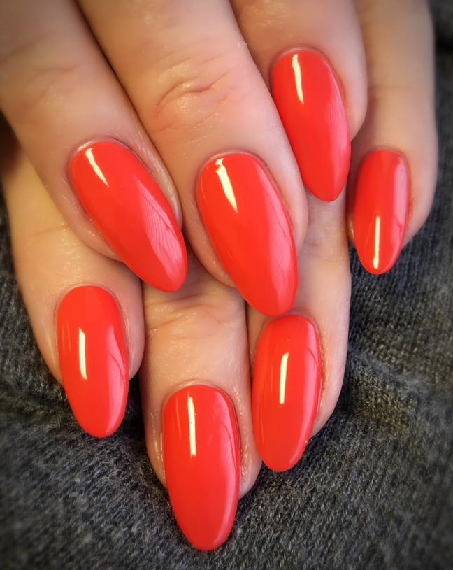 Shellac Mambo Beat over CND Liquid & Powder Enhancements by Fee Wallace