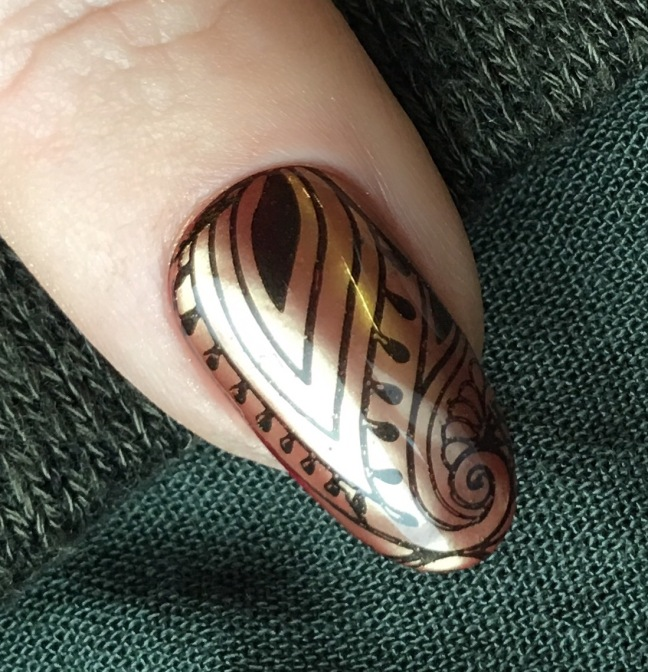 shellac red baroness with lecente layer it and lecente bronze chrome powder, plus stamping by fee wallace
