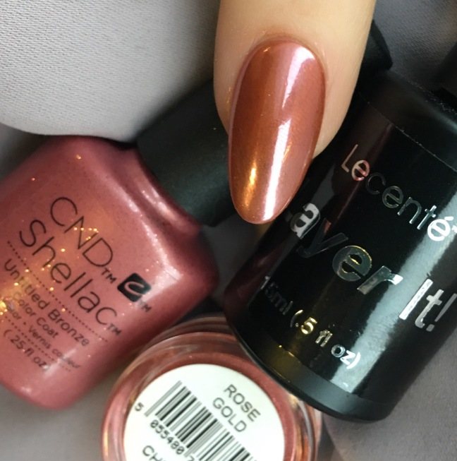 Lecente rose gold chrome with lecente layer it over shellac untitled bronze by fee wallace