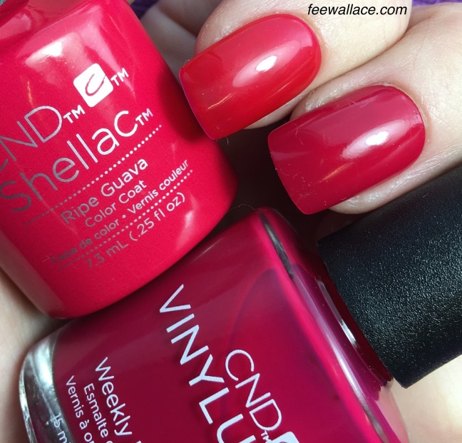 Shellac and Vinylux in Ripe Guava color swatch by Fee Wallace