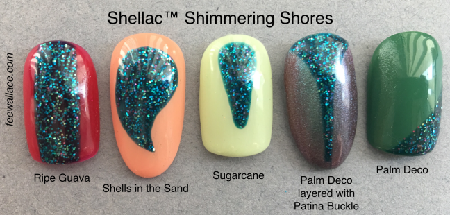 shellac colour shimmering shores with other shellac colors as nail art by fee wallace