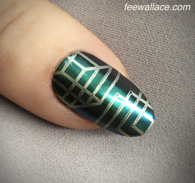 nail art stamping and Lecenté chameleon chrome over CND Shellac by Fee Wallace