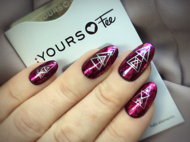 yours loves fee halo elements stamping plate nail art over shellac and lecente foil sandwich