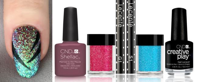 nail art and products used for shellac and lecente glitter ombre fade with hand painted nail art by fee wallace