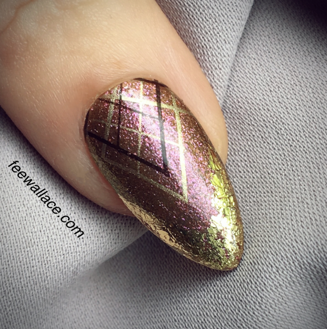 Shellac nail art with stamping and Lecenté foil over CND Hypnotic Dreams by Fee Wallace