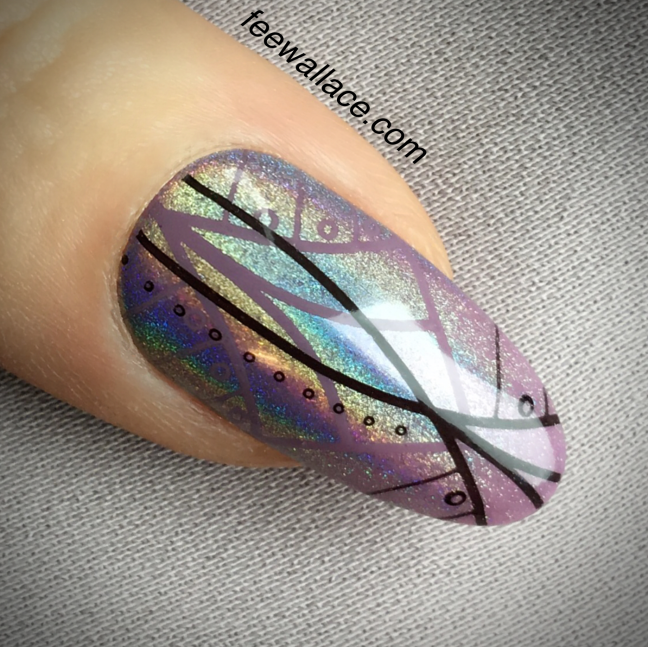 shellac lilac eclipse with yours loves fee stamping nail art and lecente rainbow holographic chrome by fee wallace