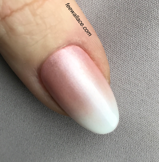 Shellac French Ombre with CND Studio White and lecente powders by fee wallace nails