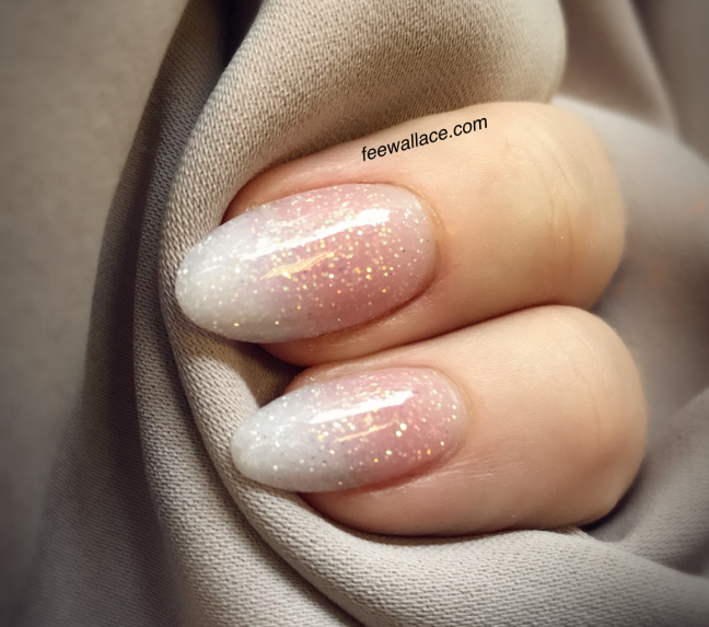 Babyboomer nails french ombre with glitter CND Enhancements acrylic nails by Fee Wallace