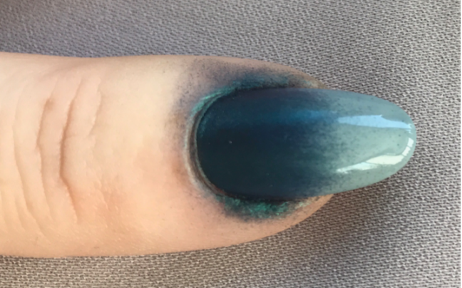 Shellac Ombre with Lecente Orbit Stardust half way through by Fee Wallace