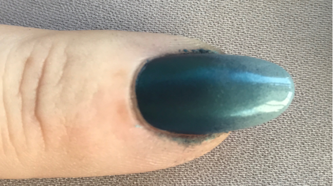 CND Shellac Mythic Slate with Lecente Stardust ready for Top Coat by fee wallace
