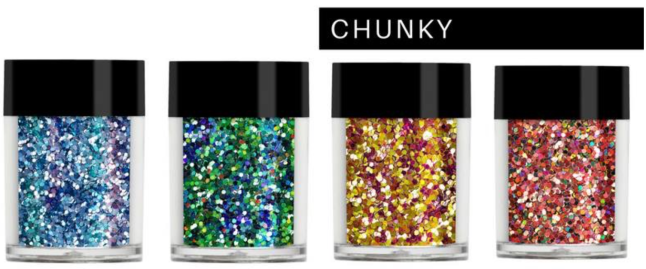 Lecenté Chunky Glitters in Fee Wallace Blog
