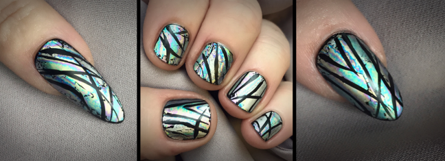 oilslick foil nail art with matte finish - lecente and cnd shellac by fee wallace