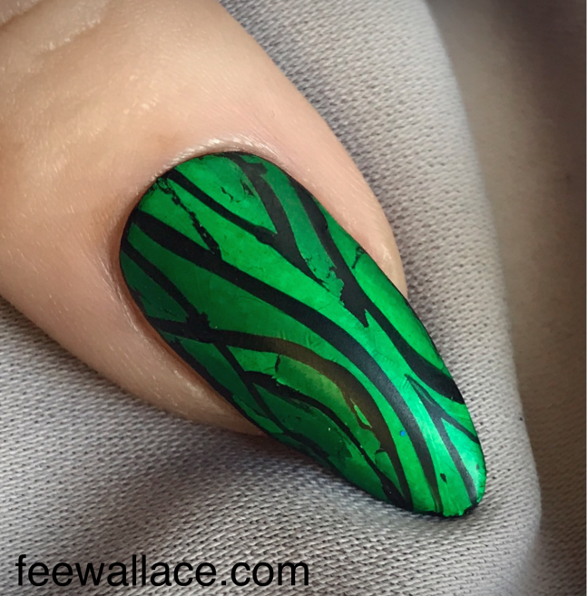 Lecente Green Dragon foil with hand painting and Shellac Matte Top Coat Nail Art by Fee Wallace