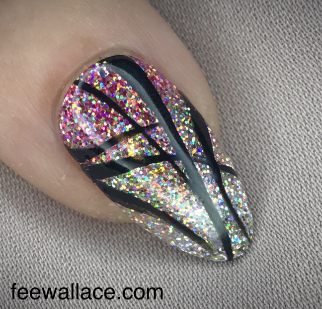 Christmas glitter nail design using Lecente super holographic by Fee Wallace over CND Shellac