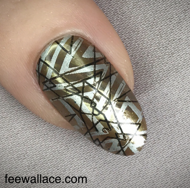 Double stamping nail art with :YOURS and Lecenté Chrome over Shellac by Fee Wallace