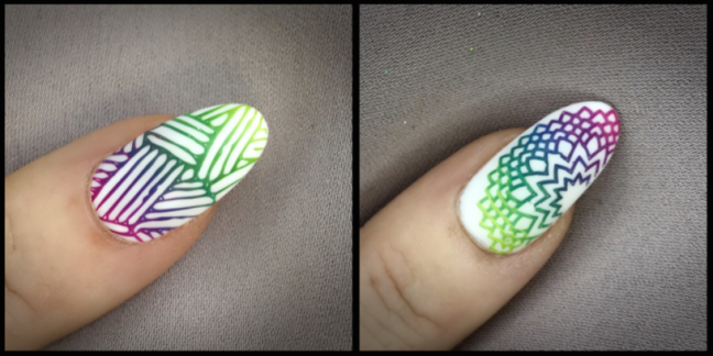 nail art stamping by fee wallace, rainbow ombre fade on white background
