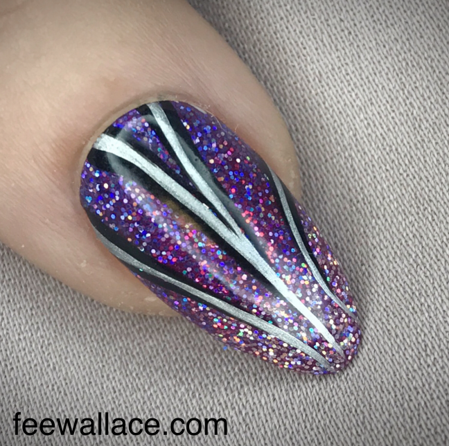 festive glitter nail design by fee wallace with cnd shellac and lecente