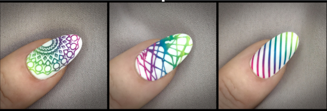 banner for fee wallace blog on ombre stamping nail art over CND Shellac using Creative Play