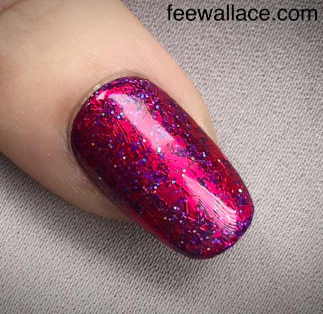 foil sandwich nail art with shellac pink leggings and foil by fee wallace