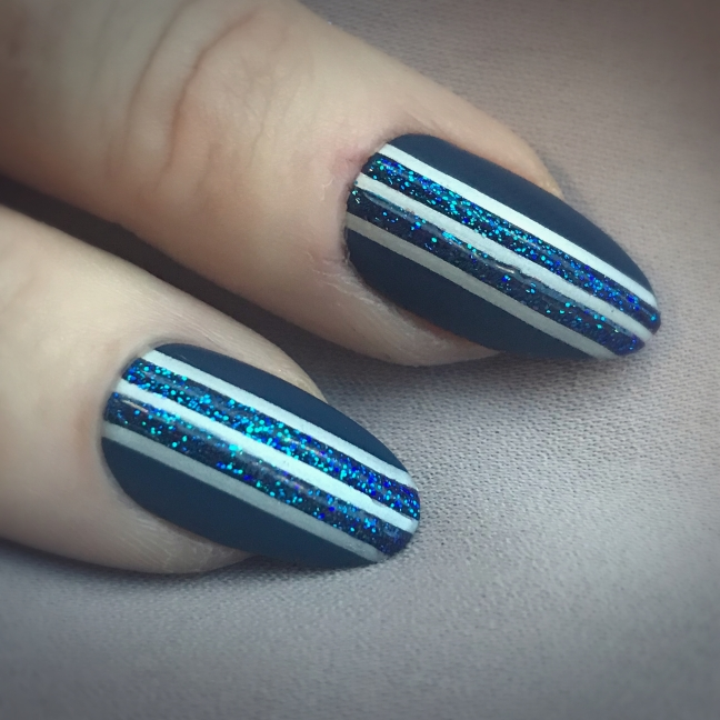 shellac winter nights with stamping nail art and gloss glitter embelishments by fee wallace