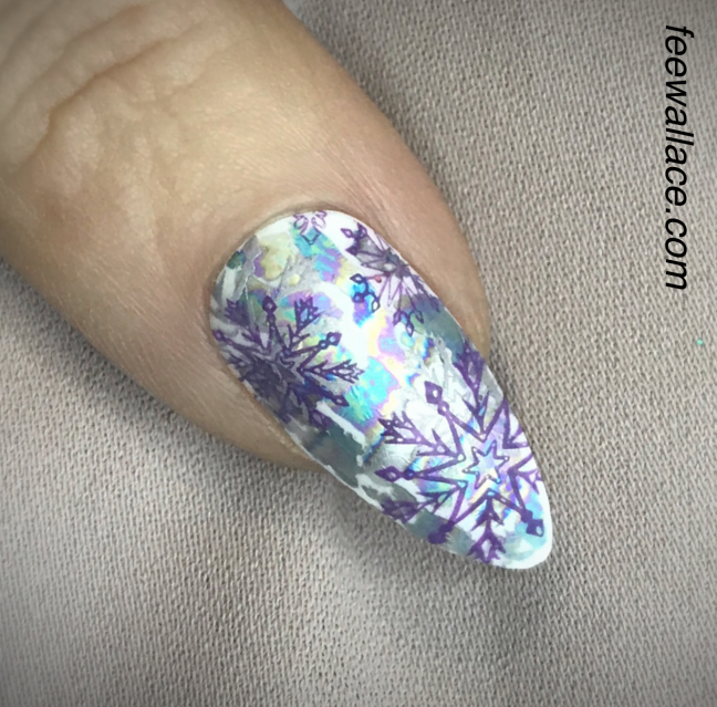 Shellac With Lecente Foil And YOURS Stamping Snowflakes By Fee Wallace