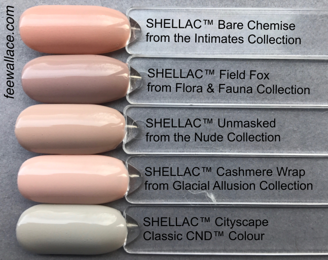 Unmasked CND Shellac Nude comparison swatch colour pops by Fee Wallace
