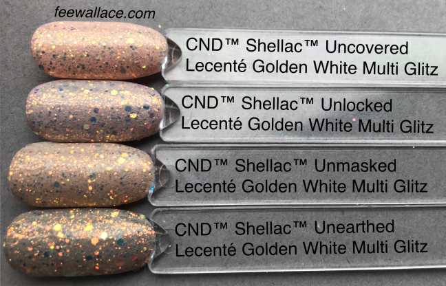 cnd shellac nude collection with lecente glitter golden white multi glitz by fee wallace